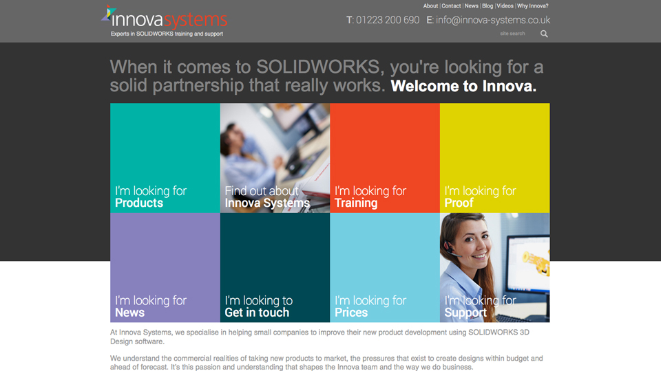 Innova Systems home page web design