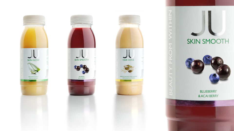 New Covent Garden Foods - Ju drinks. Cambridge design agency, Cambridge photography, illustration, typography, Cambridge print, design, packaging, photography, advertising, printed materials, website design, 3D animation,