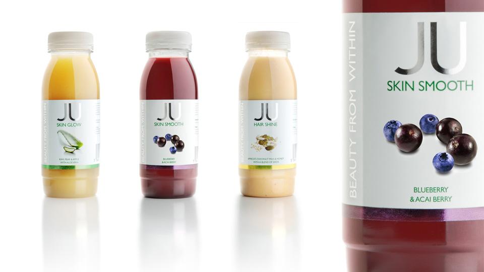 New Covent Garden Foods - Ju drinks. Cambridge design agency, Cambridge photography, illustration, typography, Cambridge print, design, packaging, photography, advertising, printed materials, website design, 3D animation,