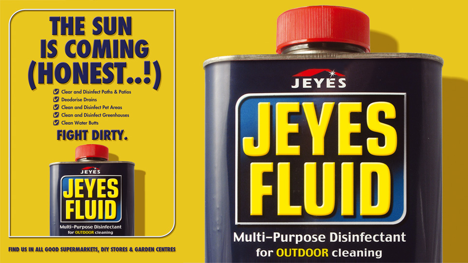 Jeyes Fluid range. Cambridge design agency, Cambridge photography, illustration, typography, Cambridge print, design, packaging, photography, advertising, printed materials, website design, 3D animation.