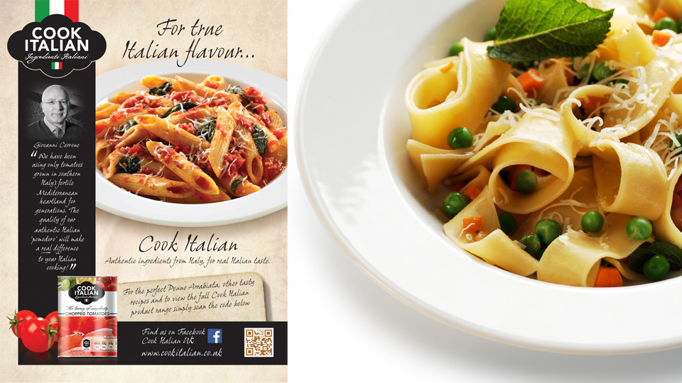 Cook Italian. Cambridge design agency, Cambridge photography, illustration, typography, Cambridge print, design, packaging, photography, advertising, printed materials, website design, 3D animation.