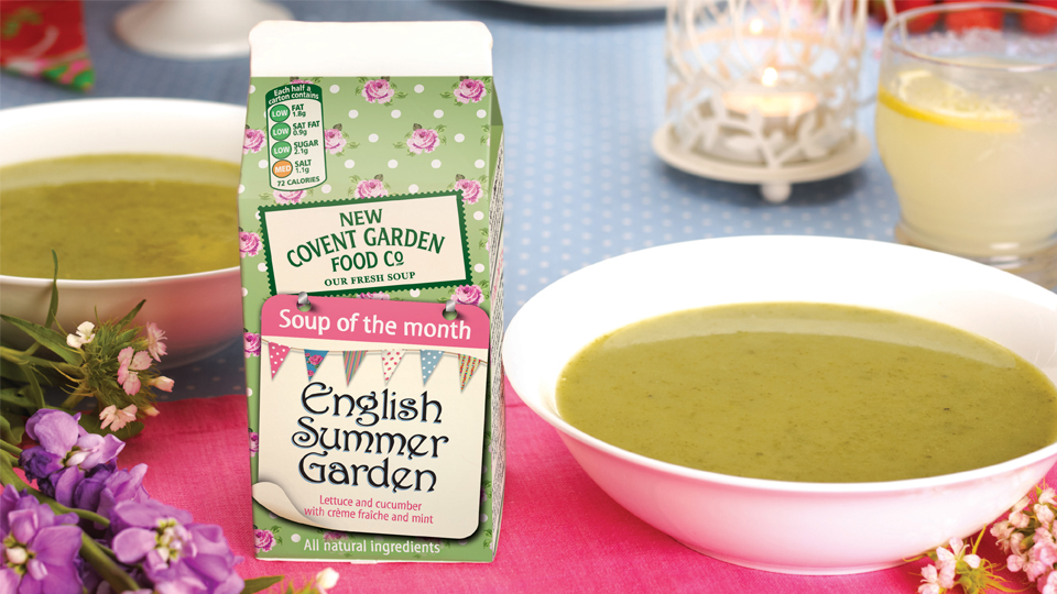 New Covent Garden Foods Soup of the Month packaging range - English Summer Garden. Cambridge design agency, Cambridge photography, illustration, typography, Cambridge print, design, packaging, photography, advertising, printed materials, website design, 3D animation,