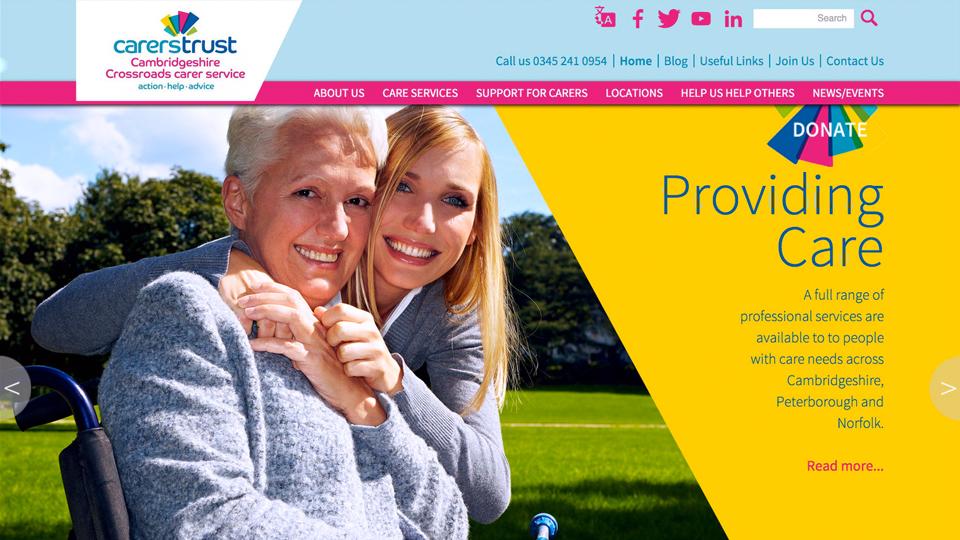 Website design for Carers Trust Cambridgeshire